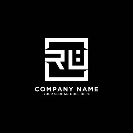 R AND U initial logo inspirations, square logo template, clean and clever logo vector
