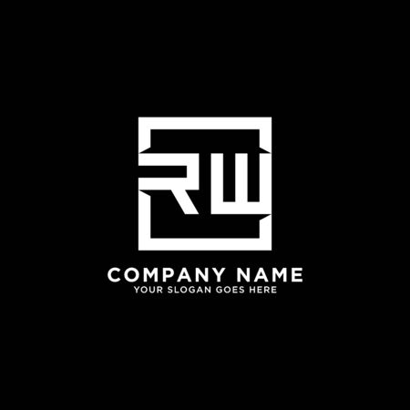 R AND W initial logo inspirations, square logo template, clean and clever logo vector