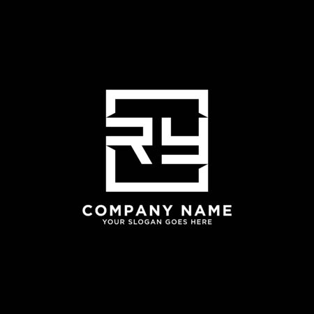 R AND Y initial logo inspirations, square logo template, clean and clever logo vector Illustration