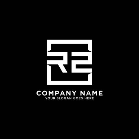 R AND Z initial logo inspirations, square logo template, clean and clever logo vector Illustration