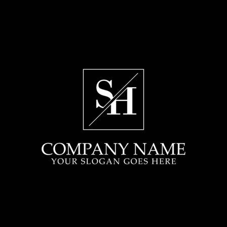 SH Initial logo designs, simple letter logo template Çizim