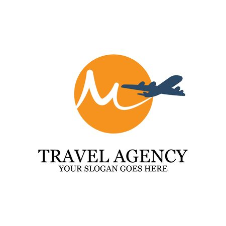 Travel Agency Logo template with airplane, M travel logo inspiration, simple logo designs