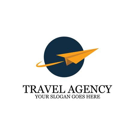 Travel Agency Logo template with paper plane, simple logo designs  イラスト・ベクター素材
