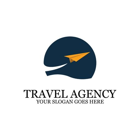 sunset Beach logo inspiration, travel with paper plane logo designs, clean and clever  イラスト・ベクター素材