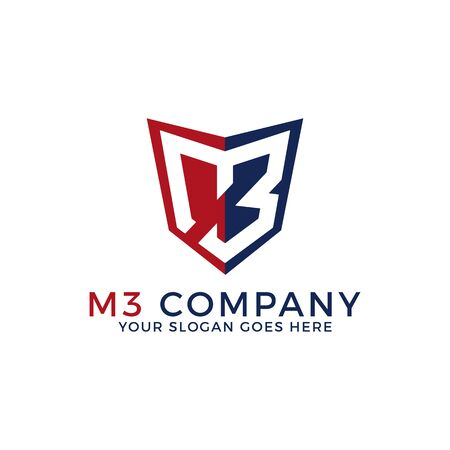 M3 Company logo template, initial name with shield logo designs