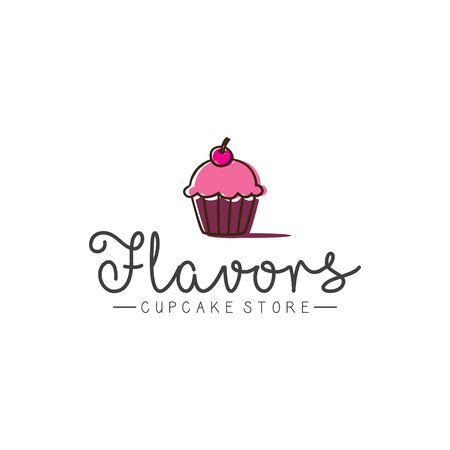 Cupcake store logo design inspirations, various flavors cupcake