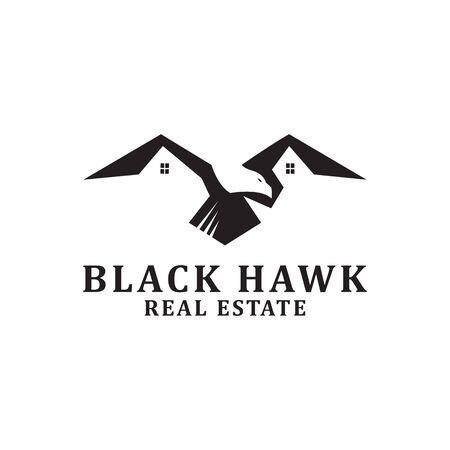 Black Hawk Real estate Logo designs inspiration
