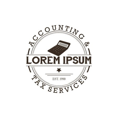 Business finance accounting logo badge with retro style and tax Stock Photos & Vectors