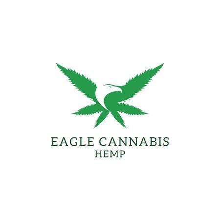Eagle cannabis hemp logo designs, cannabis logo inspiration Stock Illustratie