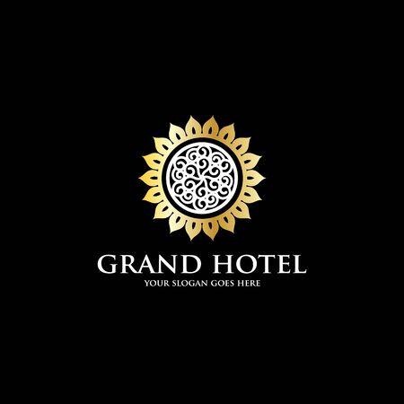 grand sun hotel logo inspiration, luxury hotel logo template