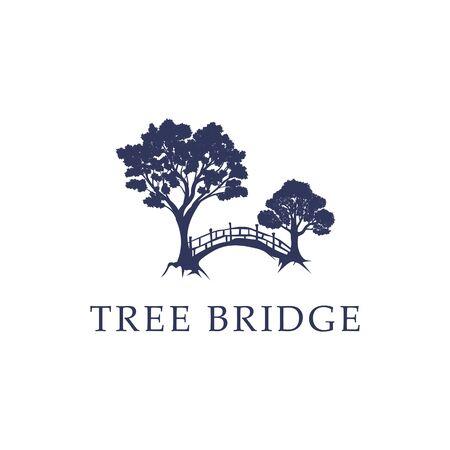 Nature Tree Bridge logo idea, modern and creative logo stock