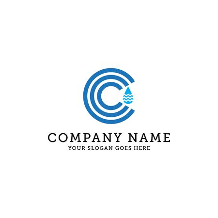 natural water logo template, c letter logo design, It is good for your company, corporate Stock Illustratie