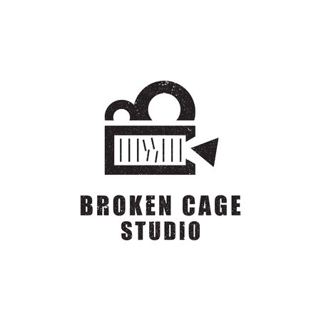 broken cage studio , film and video studio logo design,good for business and finance logo brand 일러스트