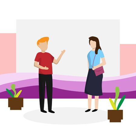 flat design for man and women talk about business, teamwork clip art characters illustration