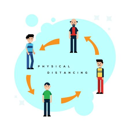 Flat design of physical distance illustration vector concepts,people in public area keeping distance to protecting from covid-19 virus