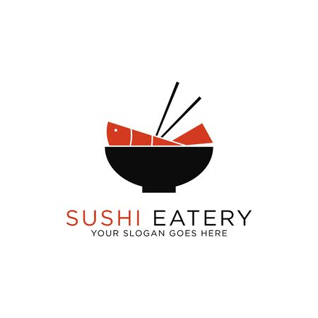 sushi eatery logo design,japanese tuna restaurant logos set vector illustration