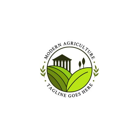 Greek agriculture logo design in the circle, modern farm logo vector