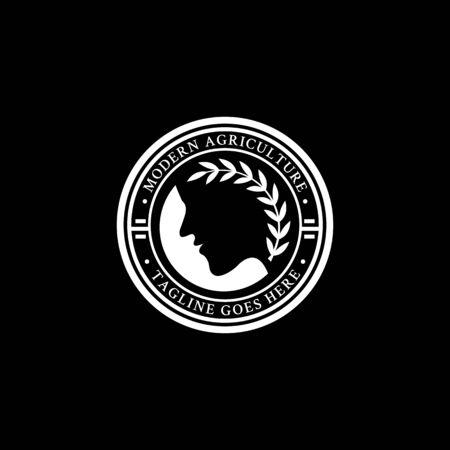 Demeter agriculture logo design in the circle, modern farm logo vector