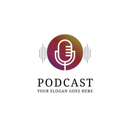 creative podcast mic  design template, digital audio show  inspiration Illustration