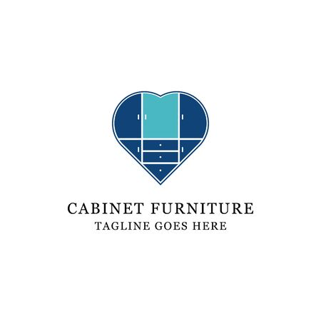 love cabinet furniture logo design, perfect for lovely business and store logo vector illustration Archivio Fotografico - 150211619