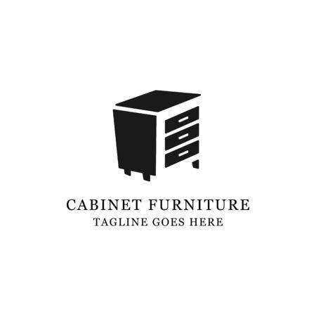 interior furniture cabinet Wood logo design with negative space vector illustration Archivio Fotografico - 150211618