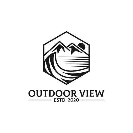 Outdoor View  Mountain and sea vector with simple line design Vectores