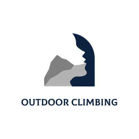 Creative Outdoor Climbing  design with Silhouette negative space, best for extreme sport  inspiration