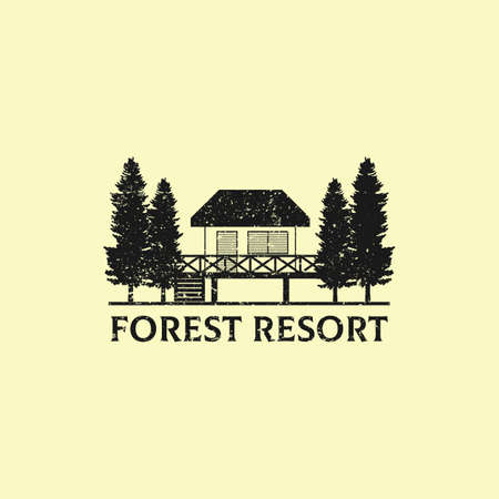 Rustic Nature Forest Resort  design, best for business and hotel  idea Vettoriali