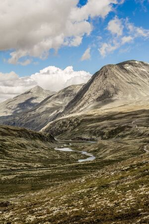 Landscape and mountains in the Rondane National Park in Norway.