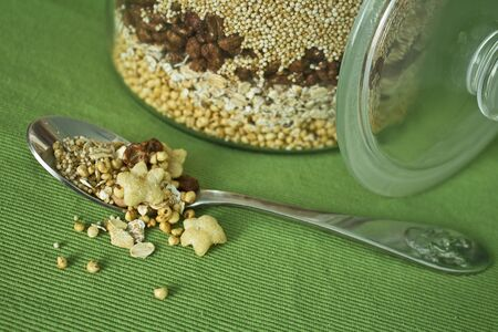 Quinoa, amaranth, oatmeal, chocoflakes, puffed corn and small healthy starlets.