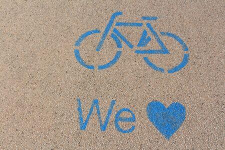 Blue marked bike path on Lake Garda in Italy. Reklamní fotografie