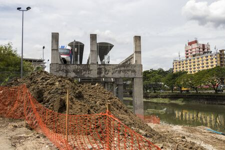 End of metro station due to construction site in Kuala Lumpur. Banque d'images