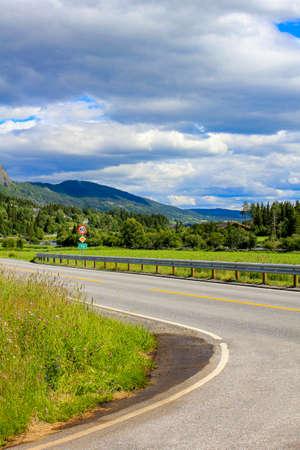 Beautiful road through the countryside of Hemsedal in Viken, Norway.
