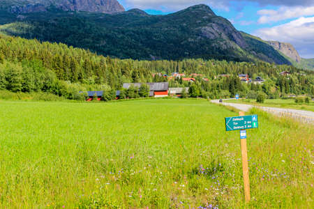 Beautiful road with hiking trails through the landscape of Hemsedal in Viken, Norway.
