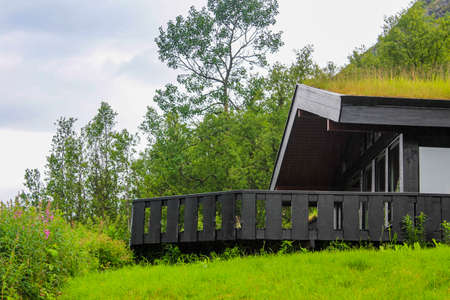 Beautiful black wooden cabin hut with overgrown roof in Hemsedal, Norway.