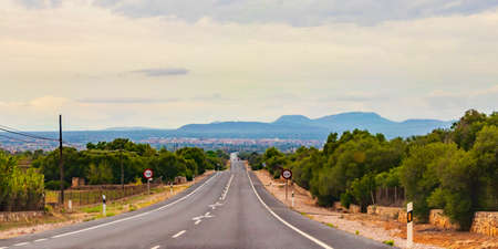 Driving through the landscape of the island of Mallorca in Spain 스톡 콘텐츠
