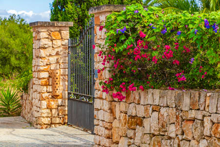 Typical house entrance gate with pink triplet flowers on the wall in Mallorca Spain.