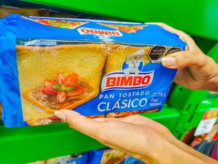 Playa del Carmen Mexico April 23, 2021 Bimbo toasted white bread Pan Tostado Clasico classic packaging in the supermarket in Playa del Carmen Mexico.