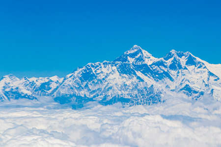 Mount Everest in the Himalayas. 8848 m high. The highest mountain on earth. Seven Summits.