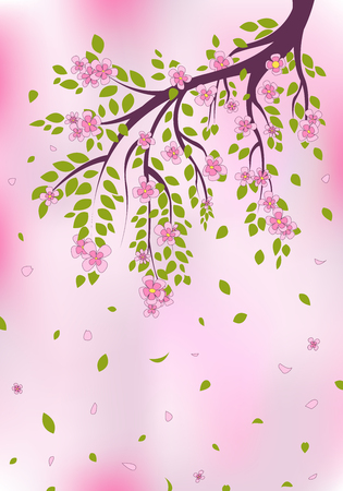 green flowers: Pink blossoms on tree branch. EPS 10