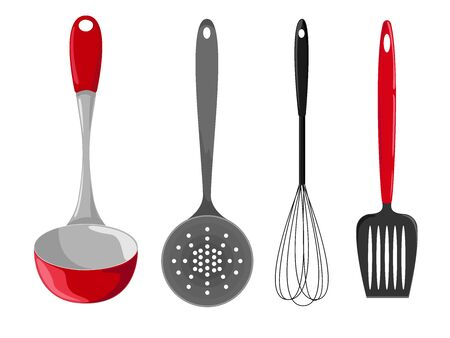 cooking utensils: Kitchen utensils isolated on a white background Illustration