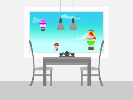 window shade: Monochrome furniture on a background of blue sky and flying balloons