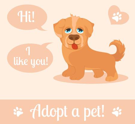 adoption: Dog in a cartoon style. Do not shop, adopt. Dog adoption concept. Vector illustration