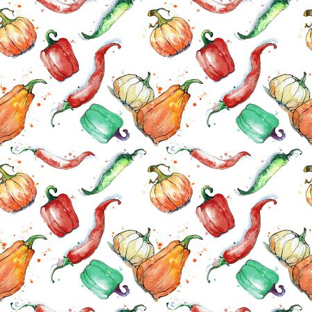 veggies: Seamless pattern with vegetables: pumpkin, paprika, pepper. Hand drawing watercolor. Stroke is made with ink. Stock Photo