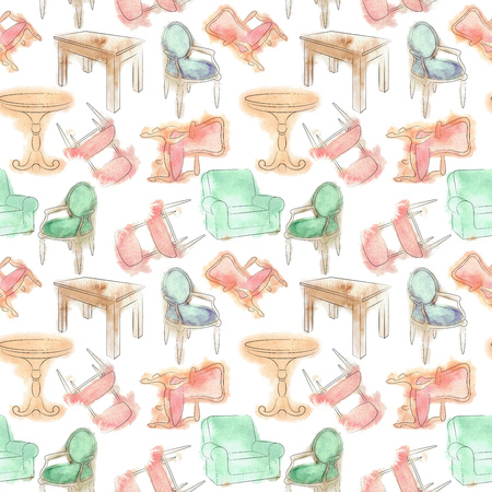 wooden furniture: Pattern with furniture. Watercolor seamless pattern. Chairs and tables. Furniture painted with watercolor stains. Wooden furniture. Hand drawing watercolor. Sketch set isolated furniture. Stock Photo