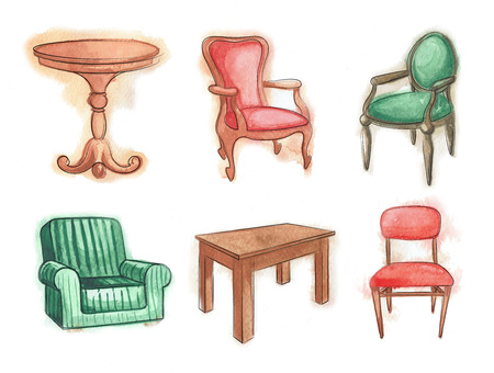 wooden furniture: Chairs and tables. Wooden furniture.  watercolor. Sketch set isolated