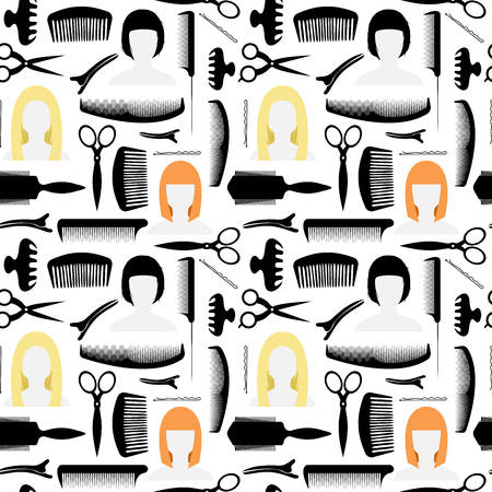 haircutting: Seamless pattern. Icons for the beauty salon. Other items for the cabin. For haircuts and styling.