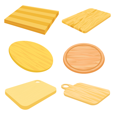 cutting board: Set images of wooden cutting board. Illustration