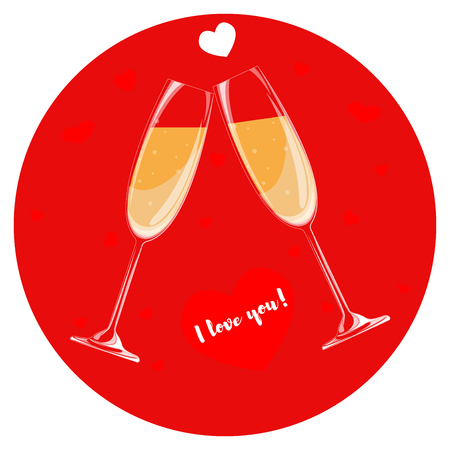 Two glasses of champagne on a red background. Heart with the words I love you. Illustration