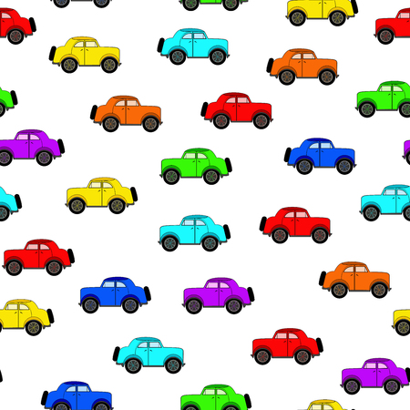 rapidity: Seamless pattern with different colors cars in a cartoon style